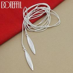 Doteffle-collier en argent Sterling 925, avec chaîne en serpent, Double feuille, bijoux pour fête de fiançailles de mariage, pour femmes