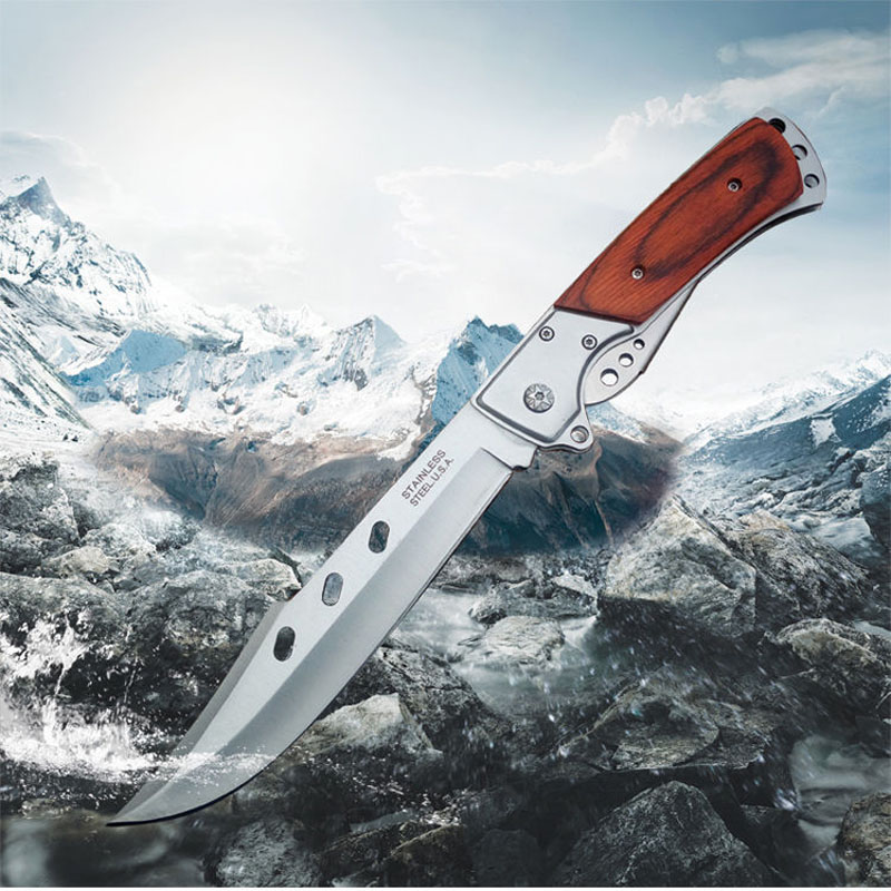 Dovetail Folding Long Army Knife Outdoor Multifunctional Survival  Anti-height Hardness Portable Blade Sharp Folding FruitKnife