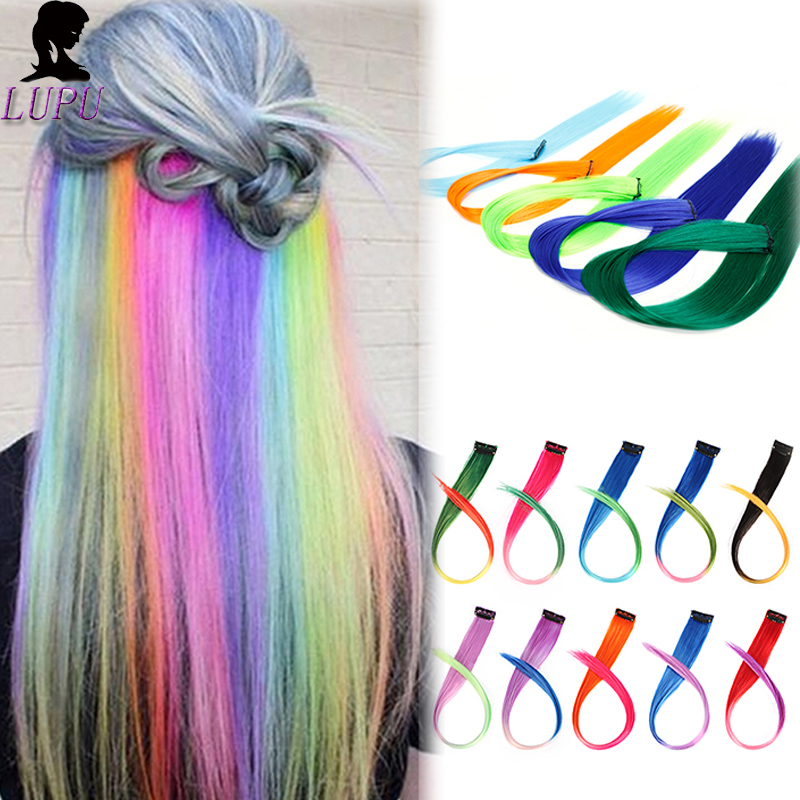 LUPU 55cm Long Straight Hair Extensions Single Clip In One Piece Highlight Rainbow Pink Synthetic Hair Strands On Clips
