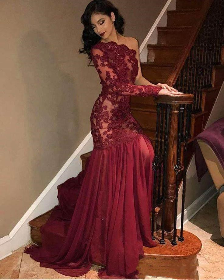 2019 New One Long Sleeve   Prom     Dresses   with Lace Applique Chiffon Sweep Mermiad Evening Party Formal Gowns