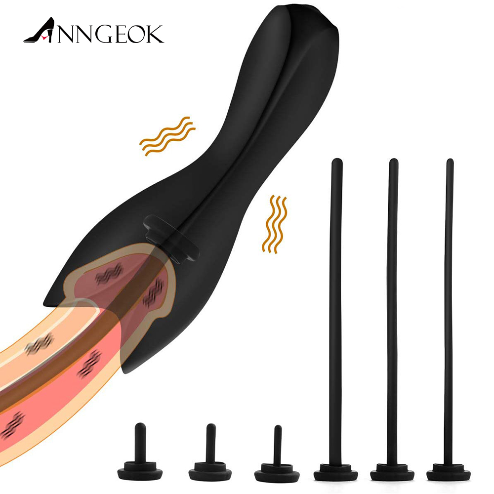 <font><b>10</b></font> Speed Urethral Vibrator ANNGEOK Penis Dilators Catheters Vibrator with 6 Penis Plug Adult <font><b>Sex</b></font> Toy for Men image
