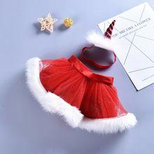 Xmas Skirts Infant Christmas Red Tutu Skirt Christmas Party Tutu Unicorn Baby Headband 2Pcs Chiffon Skirts Photo Props Sets