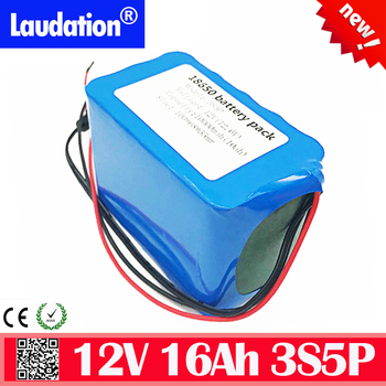 High Capacity 12 V 16ah battery pack built-in bms 12v battery 1600mah 3S 5P 18650 pack Lithium Rechargeable bateria High quality