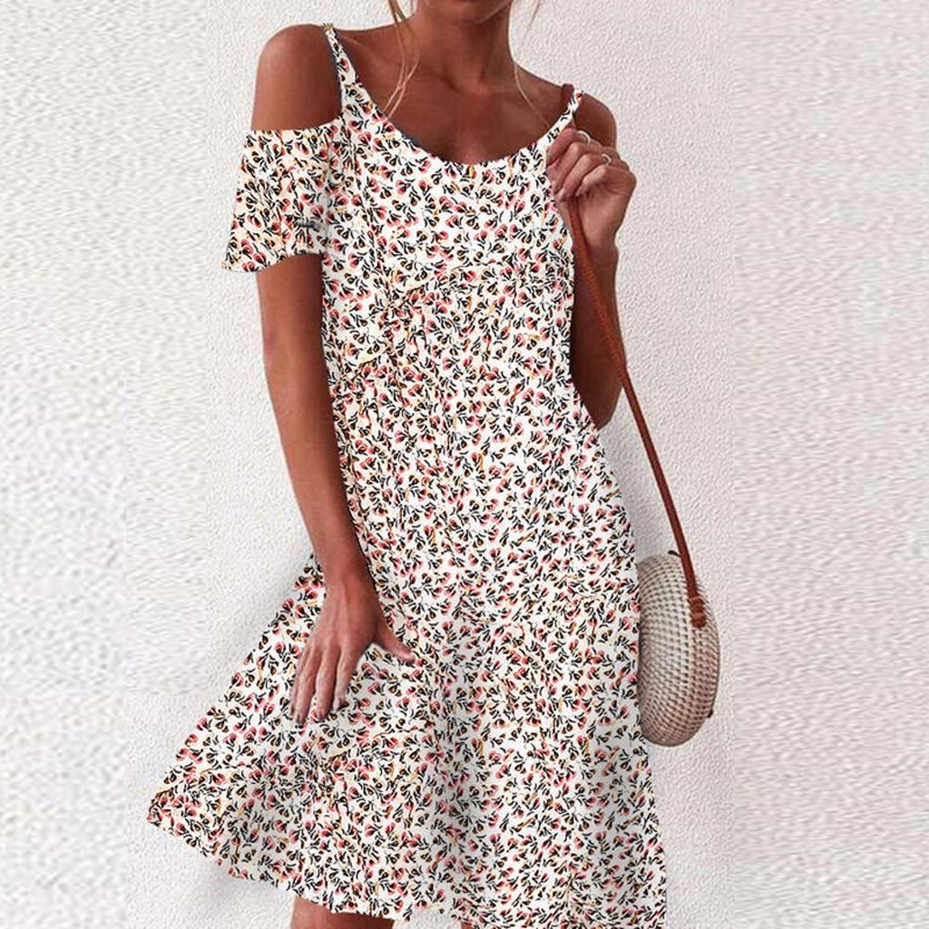 2021 Woman Summer Dress Sundress Boho Print Dresses For Women Beach Dress Casual Short Sleeve Office Lady Party Vestidos 9