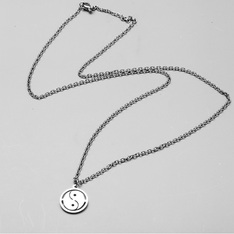 yin yang necklace stainless steel Necklace Women Men Simple Long Chain pendant Necklace Statement Couples Choker Gifts jewelry