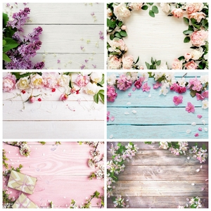 Flower Wood Board Floor Plank Wooden Newborn Baby Shower Birthday Backdrop Vinyl Photography Background Photophone Photozone
