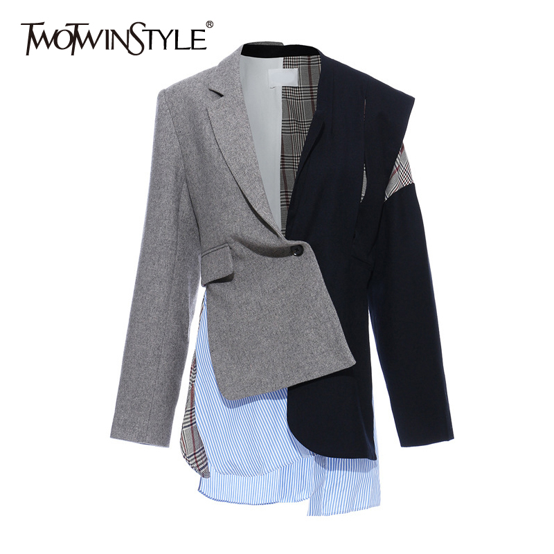 TWOTWINSTYLE Casual Patchwork Asymmetrical Women Blazer Notched Long Sleeve Irregular Hit Color Suits Female Fashion Clothes New