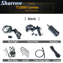 цена на TP1000 Archery Upgrade Combo Bow Sight Kits Arrow Rest Stabilizer Bow Sling D Loop Peep Sight Wrench Compound Bow Accessories
