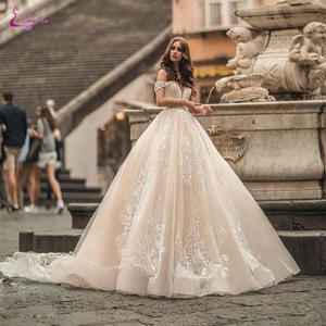 Waulizane Wedding-Dresses Ball-Gown Lace Custom-Made Off-The-Shoulder with Gorgeous Link