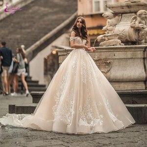 Waulizane lien sur mesure de robes de mariée robe de bal hors de l'épaule avec dentelle magnifique