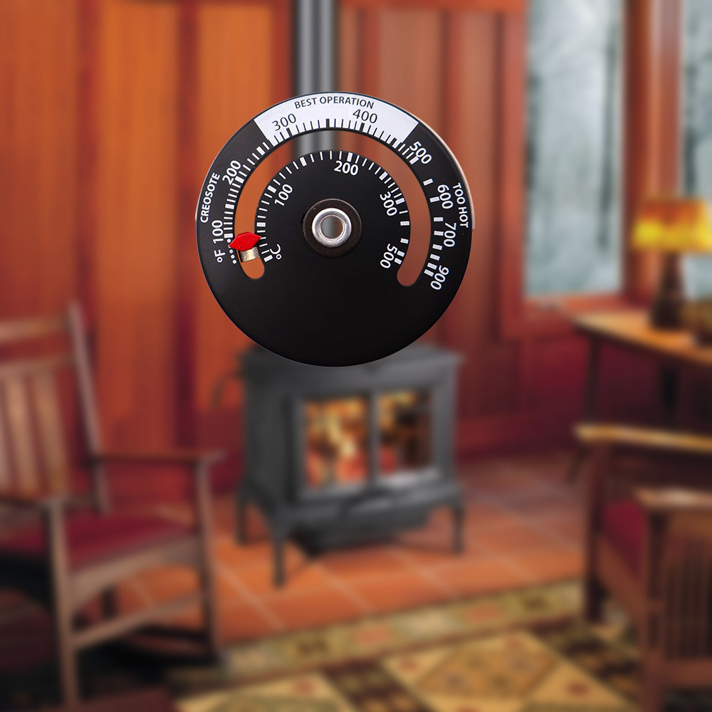 Fireplace Thermometer Wood Log Burning Stove Pipe Fire Flue Heater Aluminum Alloy Home Heat Powered Thermometer High Quality