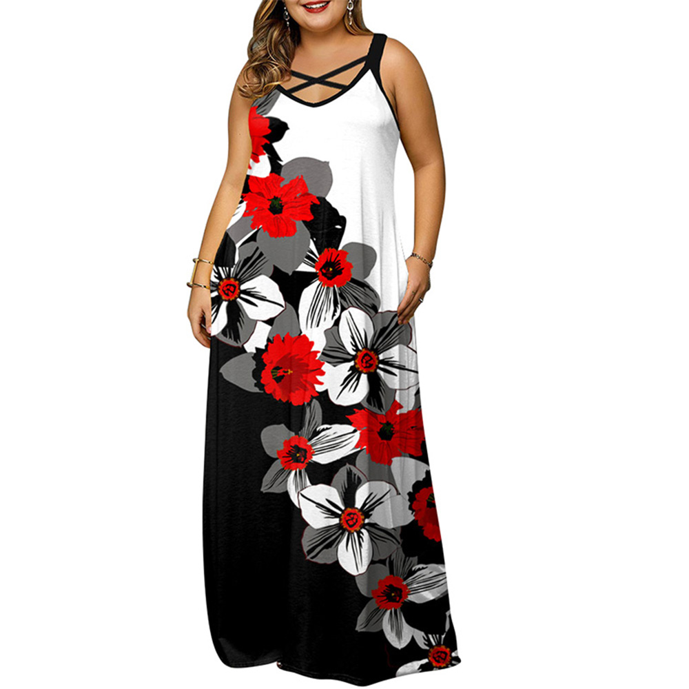 Plus Size 5XL Women Dress Summer 2021 Printed Casual Sleeveless Hollow Out Neck Maxi Dress For Lady Oversized Long Dresses D30