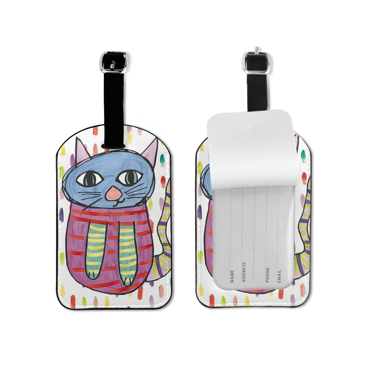 NOISYDESIGNS Luggage Tags Leather Tags Unisex Cats Painting Graffiti Travel Accessories ID Address Holder Baggage Boarding Tag
