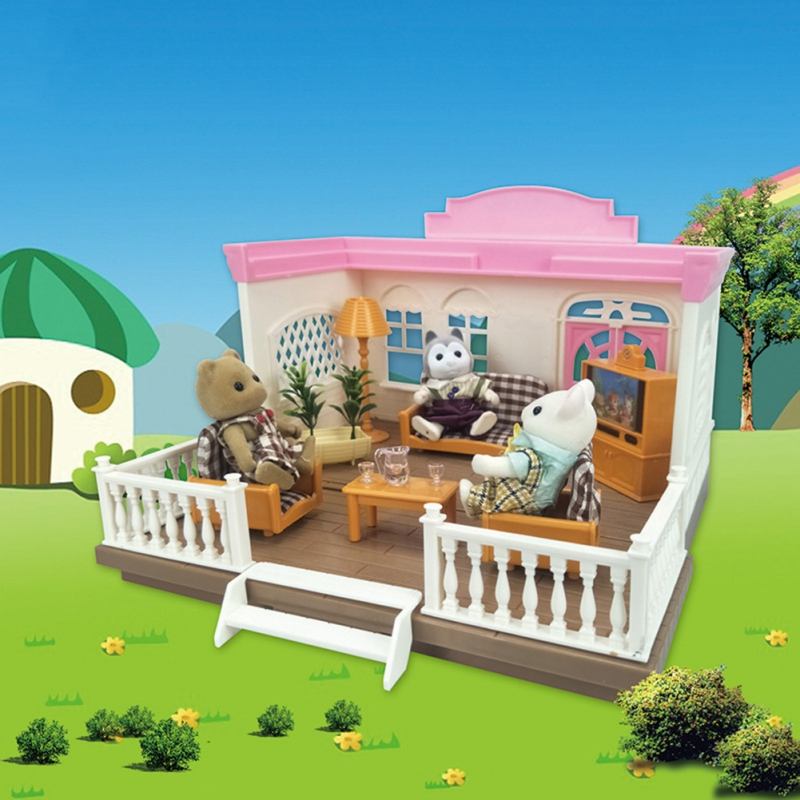 NEW 1:12 Forest Family Villa Furniture Set Toy DIY Miniatura Small Dollhouse Fluctuation <font><b>Bed</b></font> Sets Doll House Toys For Kids 1 Set image
