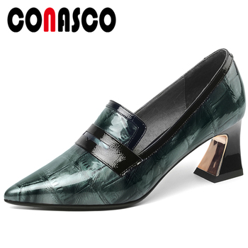 CONASCO Euro Style Casual Concise Spring Summer Woman Cow Patent Leather Pumps Mixed Colors Thick High Heels Slip-On Shoes Woman