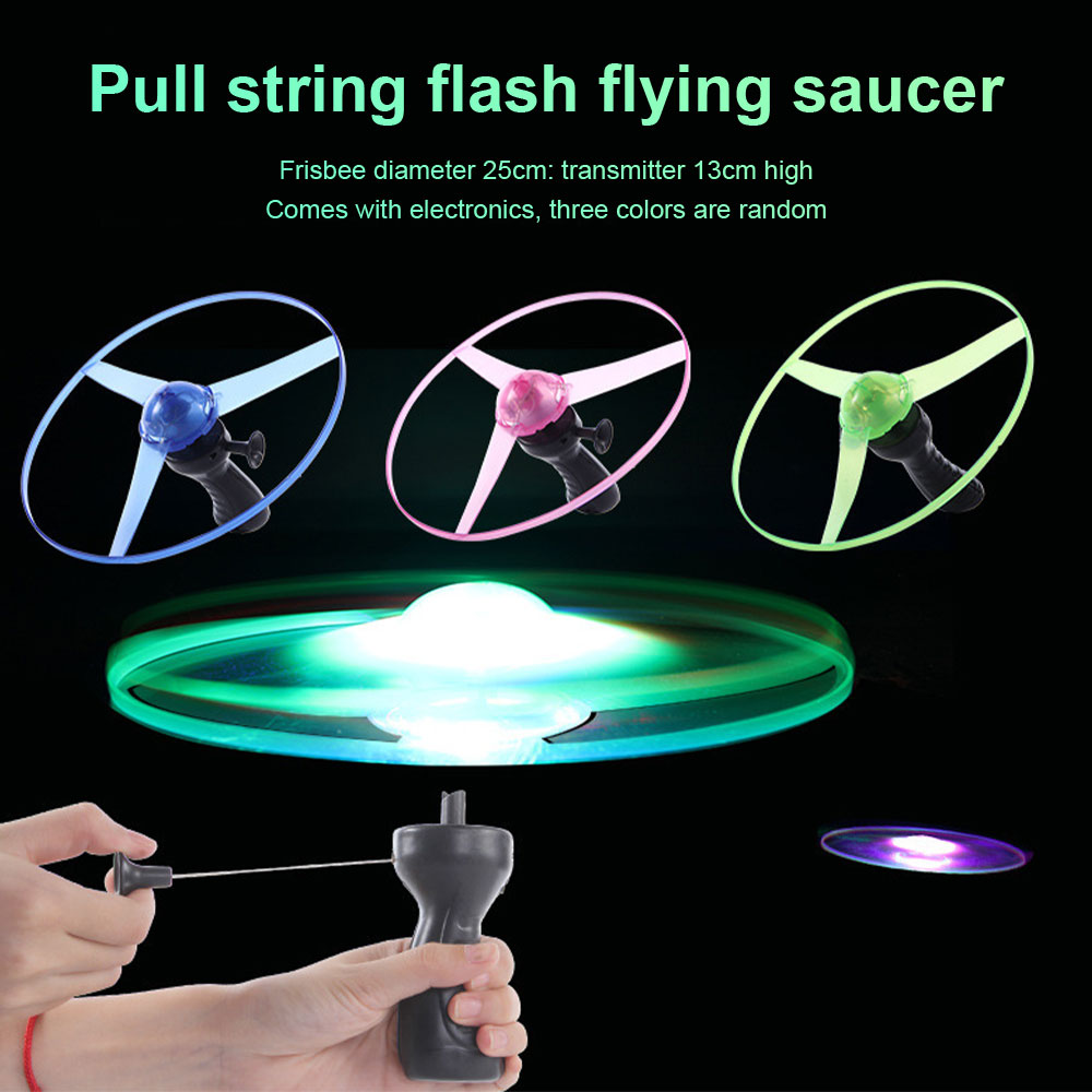 Pull String Flash Saucer Flyling Toy For Kids Child Pull String LED Light Up Flying Saucer Disc Toys Gift Outdoor Fun & Sports