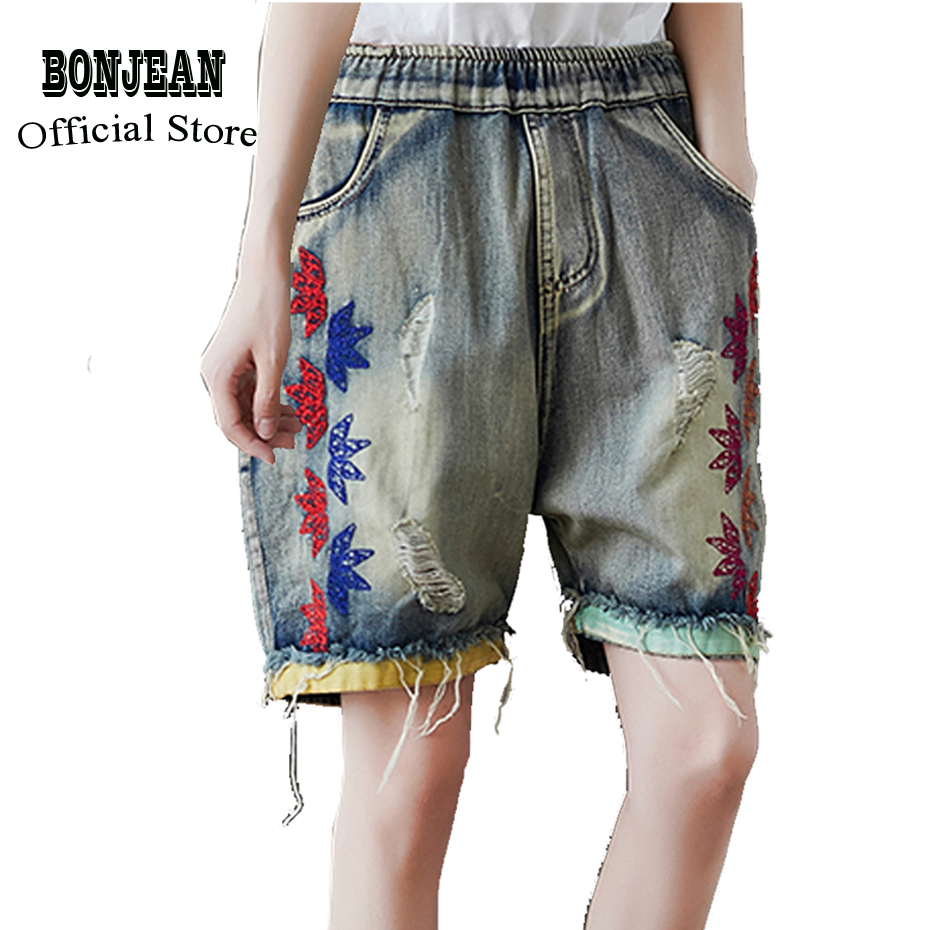 Women Hot Jeans Denim Short Sweet Fashion For Summer Knee Length Big Loose Straight Elastic Waist Embroidery Leaves AZ39483125