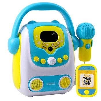 Microphone Karaoke Bluetooth Speaker Toy Portable Karaoke Machine for kids Portable Audio & Video Microphones- Blue