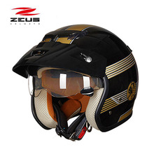 Kış yeni ZEUS 3/4 açık yüz motosiklet kask, ZS 381c dahili lens Retro prens motosiklet scooter kask