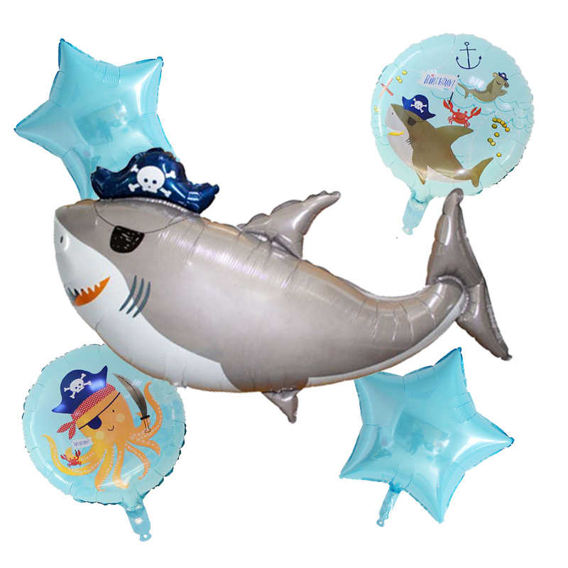 5 stks/set Big pirate shark folie ballonnen Octopus Vis Pentagram Ballonnen Oceaan Dier Thema Party Kids Geschenken Verjaardag Decoraties