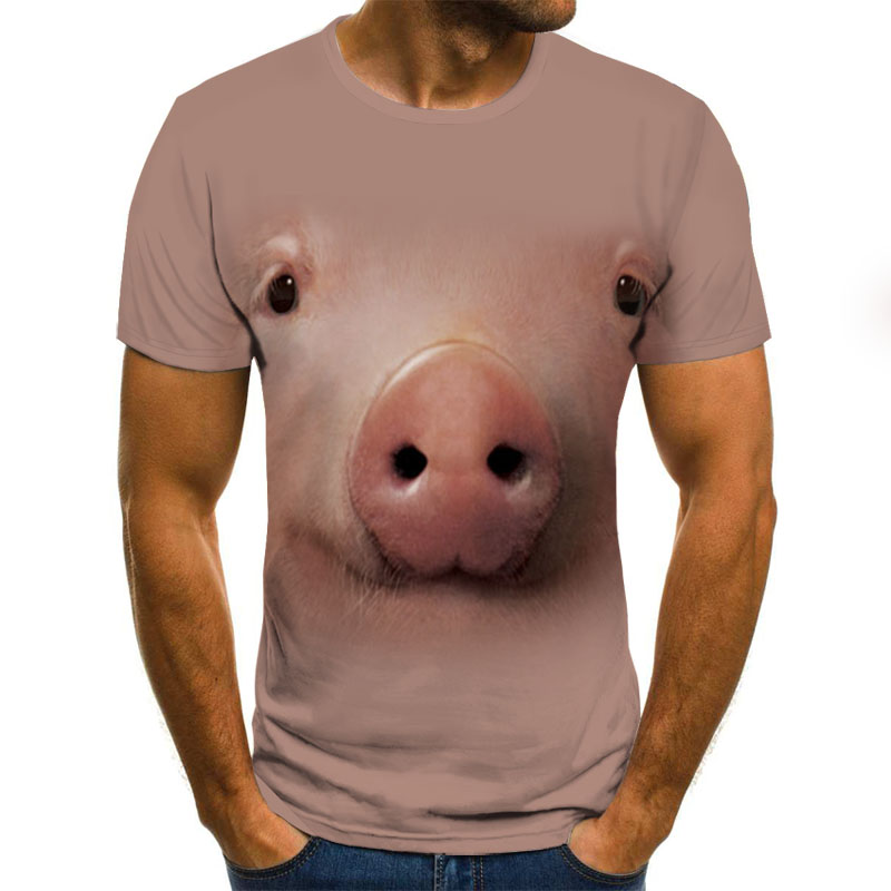 Summer 2020 New Pig Pattern Print Shirt Fun T-shirt Hip-hop Clothing Short-sleeved T-shirt Street Clothing 3d Printed T-shirt Me