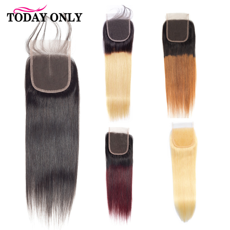 TODAY ONLY Brazilian Straight Closure 4x4 Blonde Lace Closure Remy Hair 613 Closure With Baby Hair Ombre Middle Free Part 8-20'' image