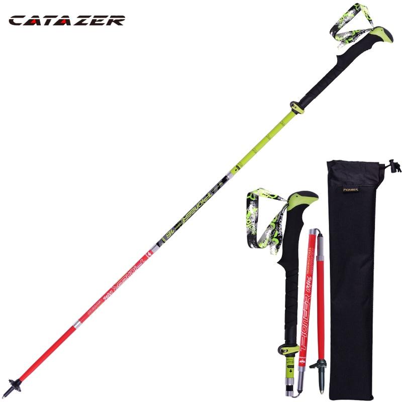 1 Pcs Ski Poles Folding Nordic Walking Poles Carbon Fiber Adjustable Trekking Stick Alpenstock Telescopic Climb Walking Sticks