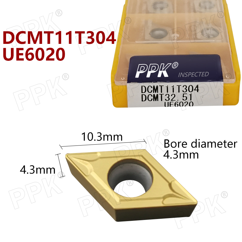 10pcs DCMT11T304 DCMT32.51 UE6020 Carbide Inserts Internal Turning Tool DCMT 11T304 Lathe Tools Cutter CNC Tool