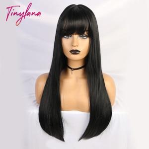 Image 3 - Pequeña Peluca de LANA negra larga y recta con flequillo, pelucas sintéticas para mujeres negras, peluca de disfraz de fibra resistente al calor para Cosplay