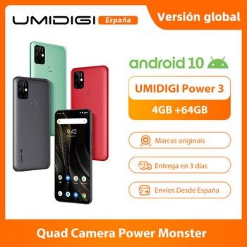 Перейти на Алиэкспресс и купить UMIDIGI Power 3 Мобильный телефон Android 10 48 МП Quad AI камера 6150 мАч 6,53 дюймFHD + 4 Гб 64 Гб Helio P60 глобальная версия смартфона NFC