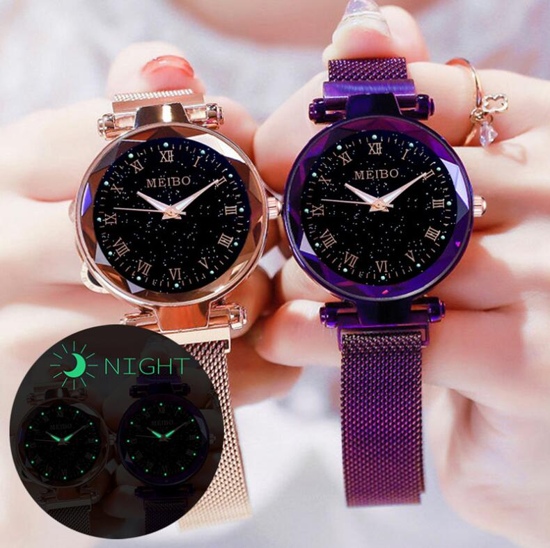 2020 Luminous Luxury Sky Star Women Watches Ladies Clocks Magnet Mesh Band Women's Wrist Watch Bracelet Reloj Luminoso