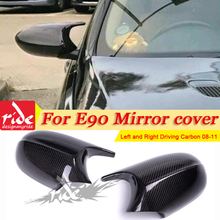 M3 Look Side Mirror Cover Caps Add on Style Carbon Fiber For BMW 3-Series E90 LCI 4-Door Sedan 1:1 Replacement 1 Pair 2008-2011 e90 e91 m3 style grill abs front bumper grille for bmw 3 series 2008 2011 4 door sedan 5 door wagon
