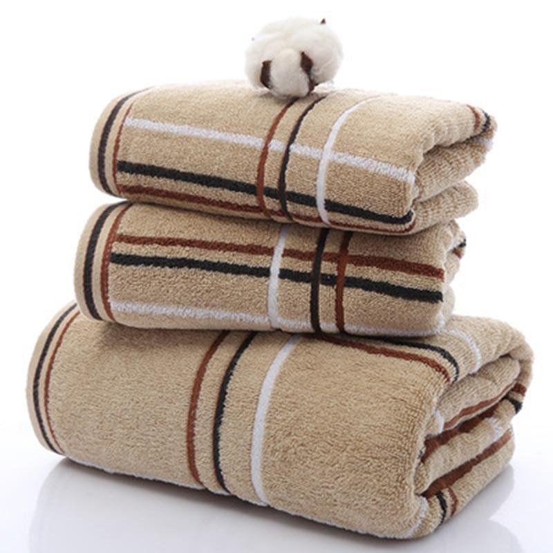Towel Bath Hotel Special Soft Towel Perfect Simple Plaid Towel Set (2 * towel 1 * bath towel) Home Textiles 3