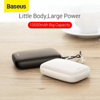 Baseus-Mini banco de energía de 10000mAh, pequeño cargador de batería externo, USB Dual, portátil, Fire para teléfono
