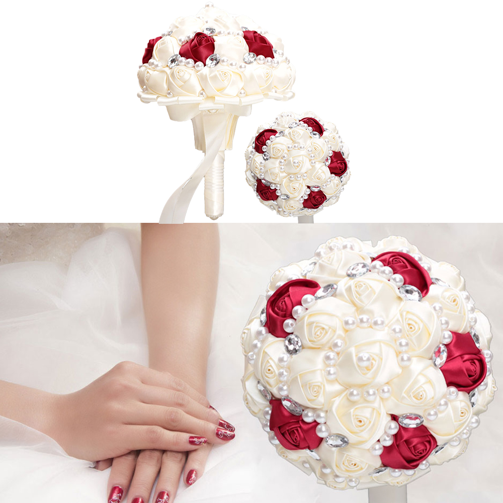 18cm Artificial Flowers Wedding Bouquet Satin Rose Pearls Rhinestones Bridal Bouquet Wedding Supplies thumbnail