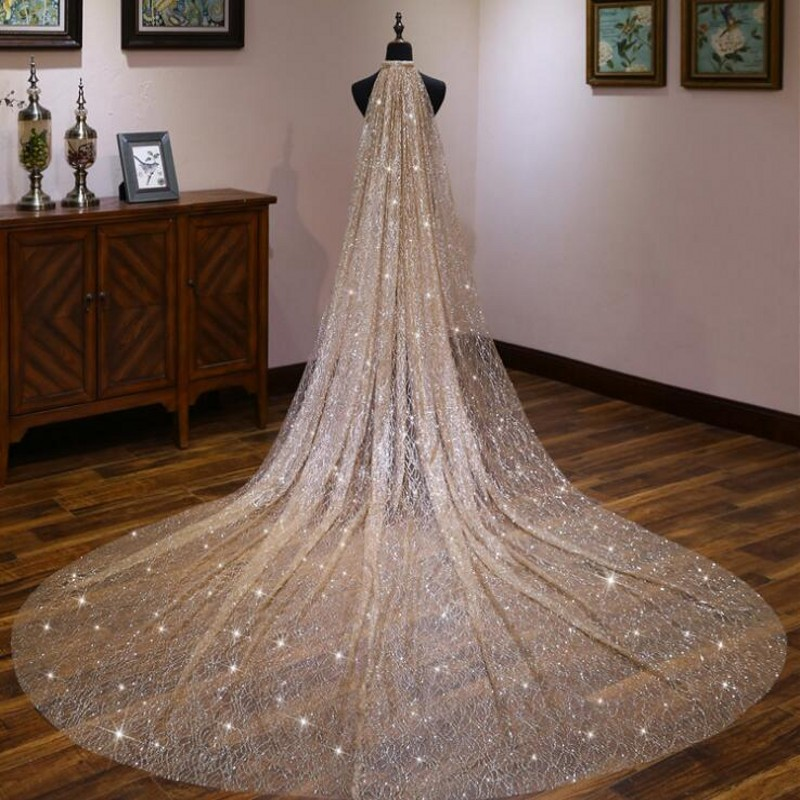 Champagne Stars Bling  Bridal Veils Length 3 Meters Width 1.5 Wedding Accessories Shiny Elegant Headpiece