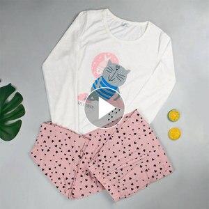 Image 2 - Mukatuパジャマ女性のコットンパジャマ綿 100% パジャマセット女性秋プリントかわいい 2 個セットパジャマセット
