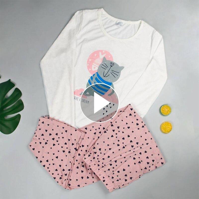 Newer 40 Pajama Set Cotton Long Sleeve New Pajamas For Women  Sleepwear Women Cartoon Pajamas Women Printed Cute Womens Pajamas