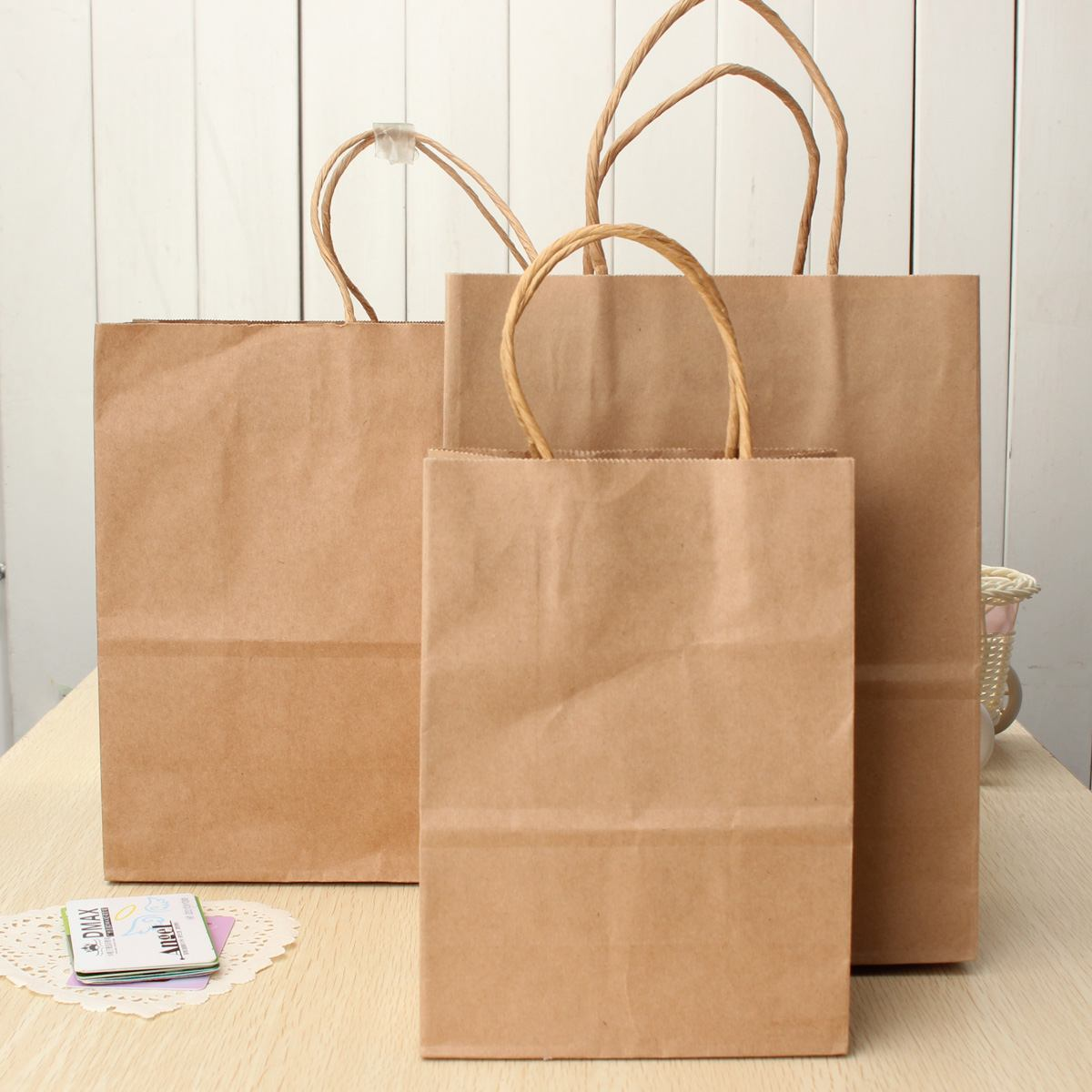 1 Pc Kraft Paper Bag With Handles Gift Bag Recyclable Bag For Fashionable Clothes Shoes Gift Shops 3 Size Cowhide