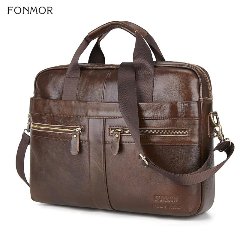 Fonmor Briefcase Men Handbag Laptop-Bag Crossbody-Bag Messenger Genuine-Leather For Man