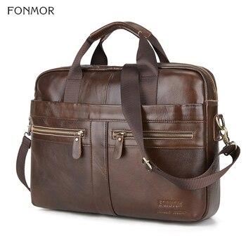 Fonmor Echtem Leder Aktentasche Männer Multilayer Laptop Tasche Natürliche Rindsleder Handtasche Für Mann Messenger Schulter Taschen Umhängetasche