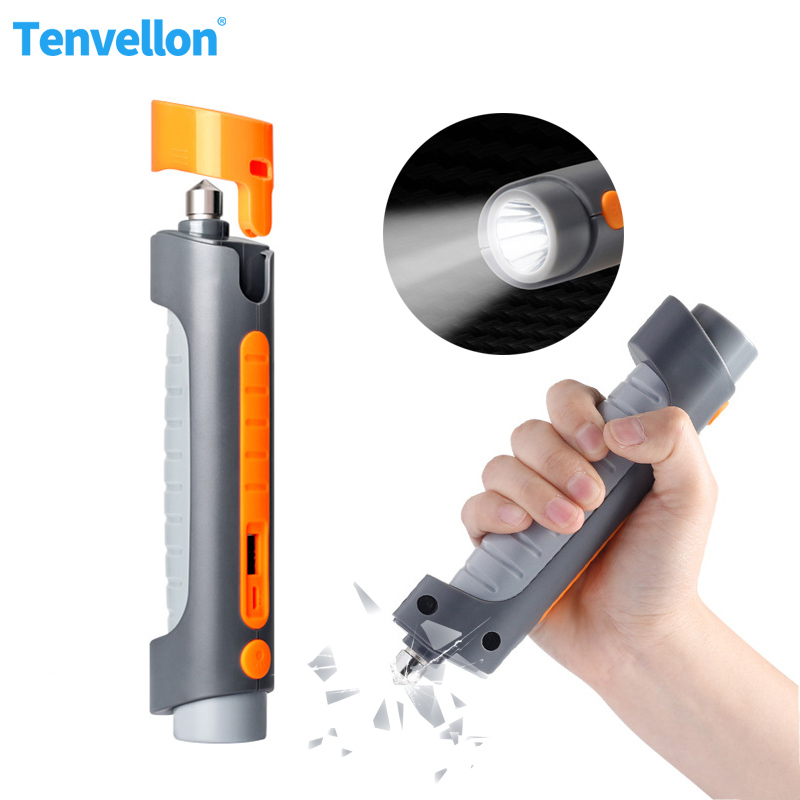 Defense Flashlight Stick Tactical Self Defence Tools Multifunctional Safety Hammer Power Bank Whistle Self Defense Weapons