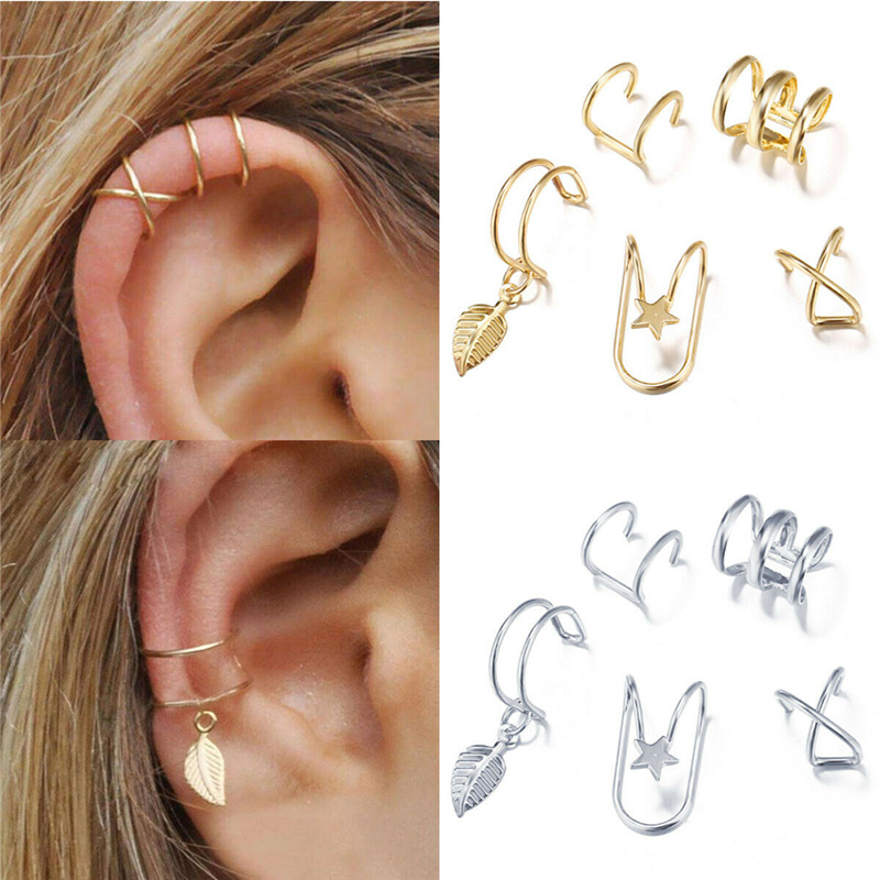 5Pcs/Set Ear Cuff Gold Leaves Non-Piercing Ear Clips Fake Cartilage Earring Jewelry For Women Men Wholesale gifts(China)