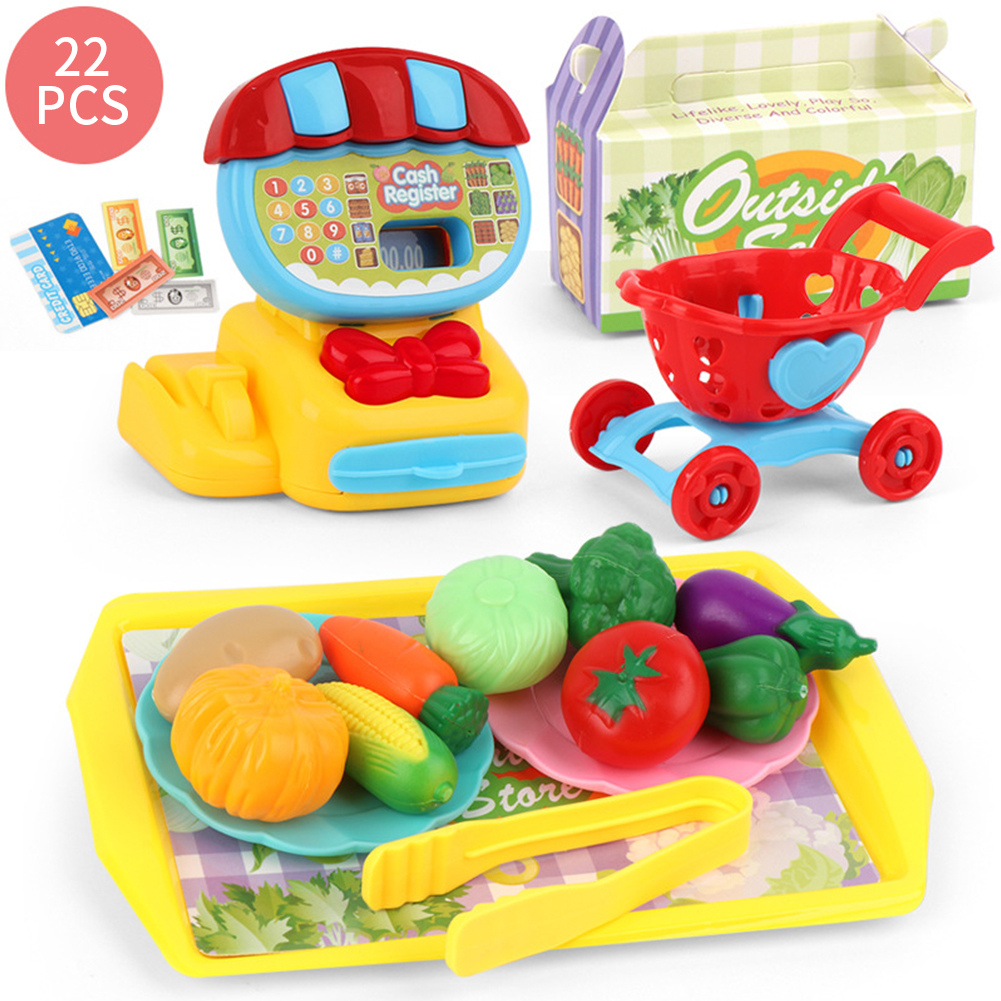 ABS Home Pretend Mini Supermarket Educational Simulation Children Learning Play House Birthday Gift Kids Toy Set Cash Register