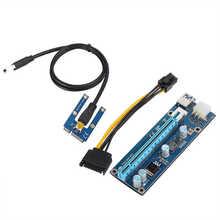 Mini pci-e para pci express16x extensor riser adaptador com cabo de alimentação sata para mineração de placa de vídeo 2021 quente