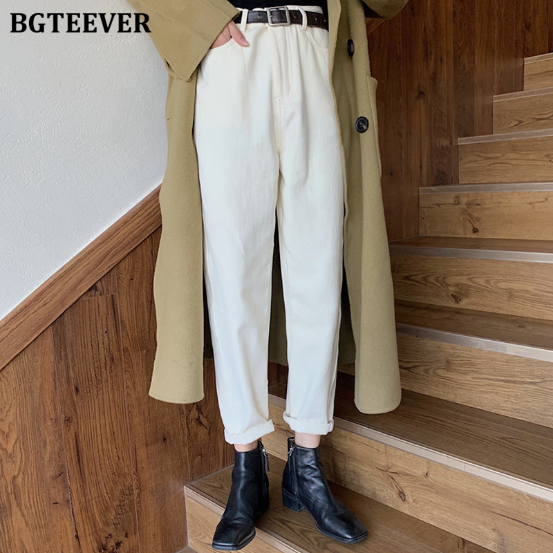 BGTEEVER Fashion Thicken Velvet Warm Denim Jeans Female Spring High Waist Belted Jeans Pants Women 2020 Warm Pantalon Femme