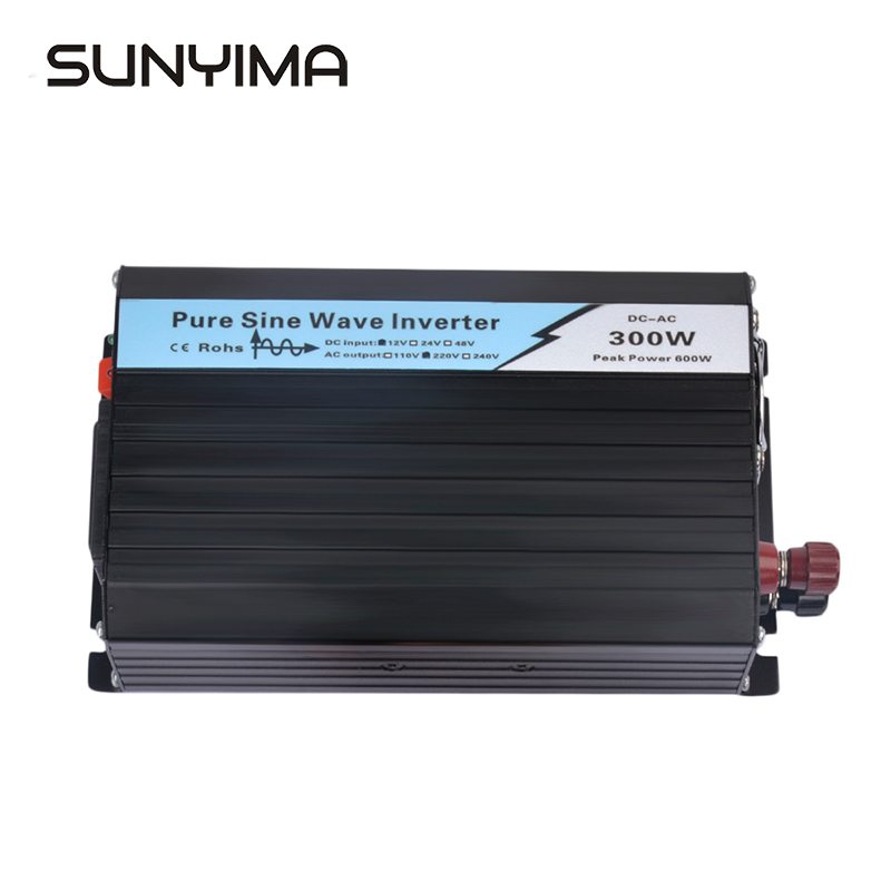 SUNYIMA 1Pc <font><b>300W</b></font> Pure Sine Wave Solar Power Inverter DC <font><b>12V</b></font>/24V To AC <font><b>220V</b></font> 50HZ OFF Grid Inverter For Solar System Car <font><b>Invertor</b></font> image