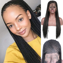 QUINLUX WIGS 13×6 Black Micro Braids Synthetic Lace Front Wigs for Black Women with Baby Hair Cornrows Half Box Braided Wigs