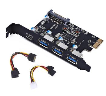 PCI-E to Type C (1), Type A (3) USB 3.0 4-Port PCI Express Expansion Card  Desktop with 15 pin SATA Power Cables dovewill pci e sata 3 to usb 3 0 4 port pci express expansion card 4 usb 3 0 ports