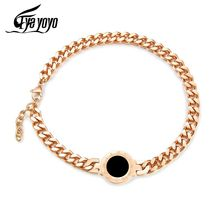 EyeYoYo 2 Colors 9mm Roman Numerals Big Curb Cuban Chain Bracelet For Women Double Layer Pulseira Feminina